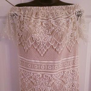 Nude and white lace mini dress